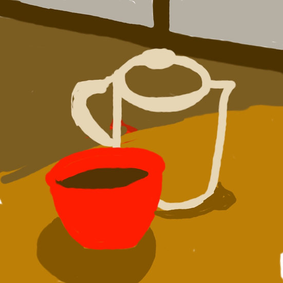 Red cup with coffee