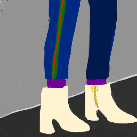 Her beige boots
