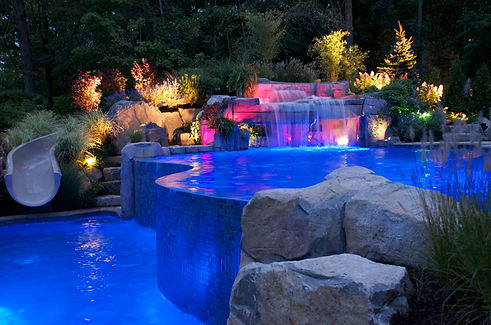 Dynamic Night View Swimming Pool Design