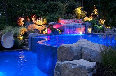 Dynamic Night View Swimming Pool Design