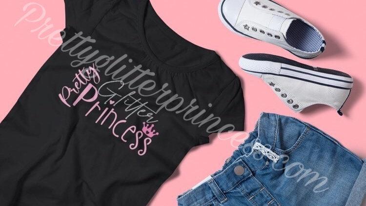 Pretty Glitter Princess Tshirt (Black)