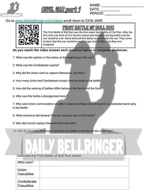 The First Battle of Bull Run Worksheet