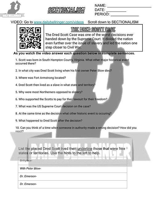 The Dred Scott Case Worksheet
