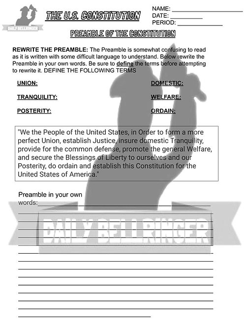 Preamble of the Constitution Worksheet