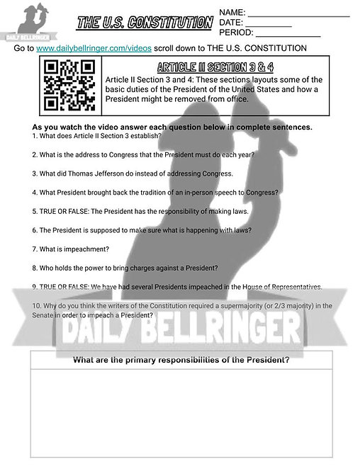 Article II Section 3 & 4 Worksheet