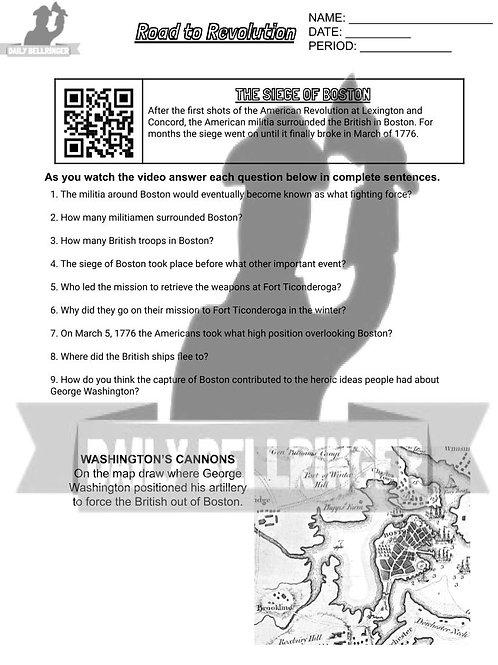 The Siege of Boston Worksheet