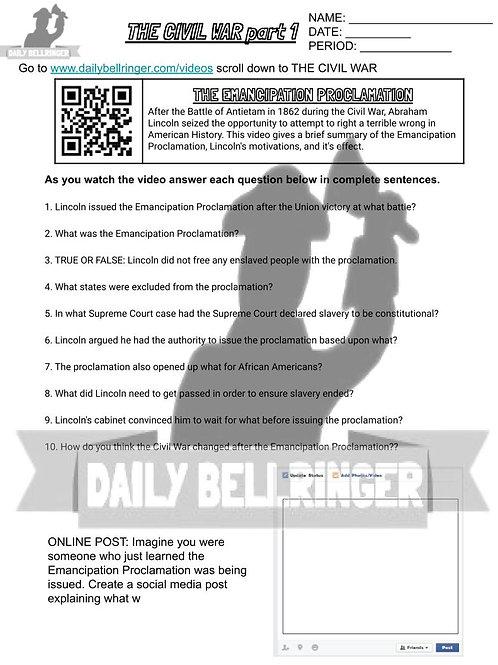 Emancipation Proclamation Worksheet