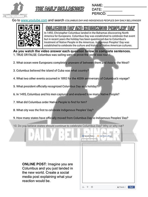 Columbus Day & Indigenous Peoples' Day Worksheet