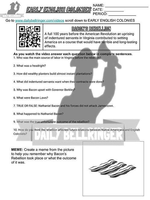 Bacon's Rebellion Worksheet