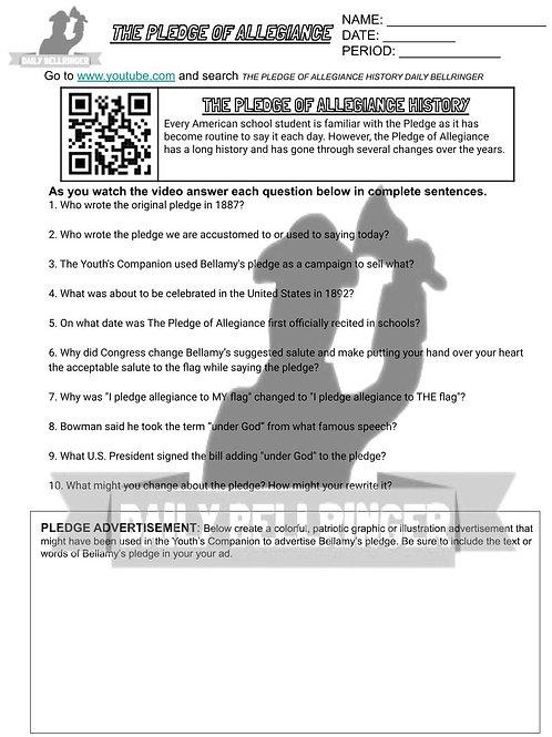 The Pledge of Allegiance Worksheet