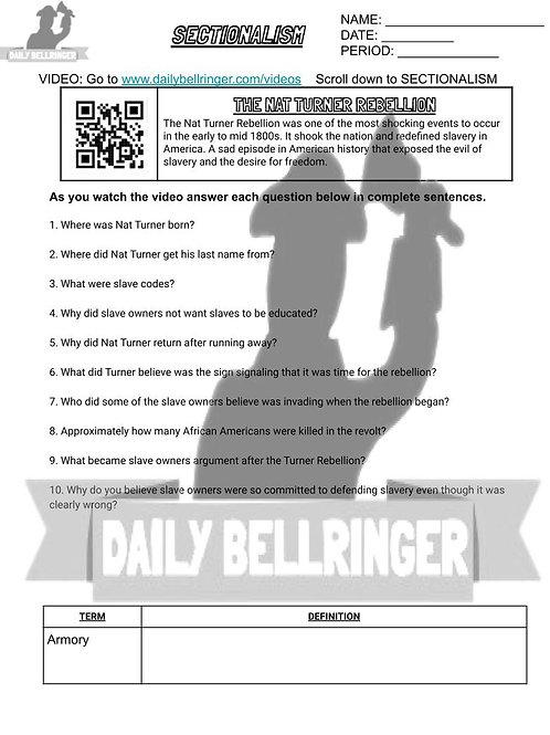 Nat Turner Rebellion Worksheet