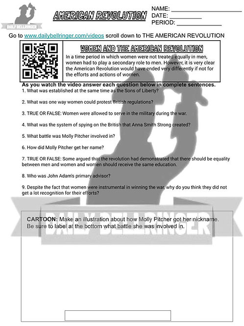 Women and The American Revolution Worksheet