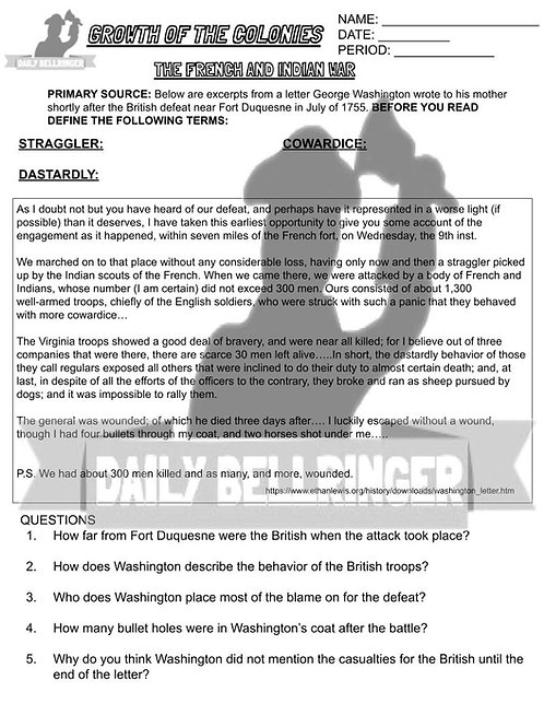 The French and Indian War Worksheet