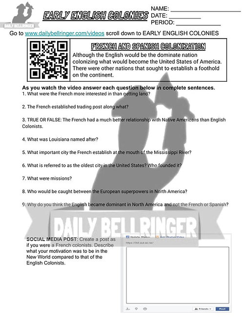 French and Spanish Colonization Worksheet