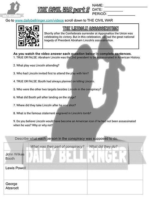 The Lincoln Assassination Worksheet