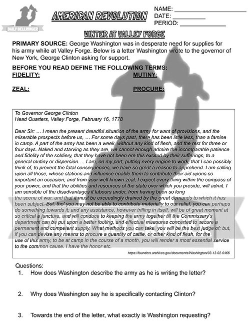 Winter at Valley Forge Worksheet