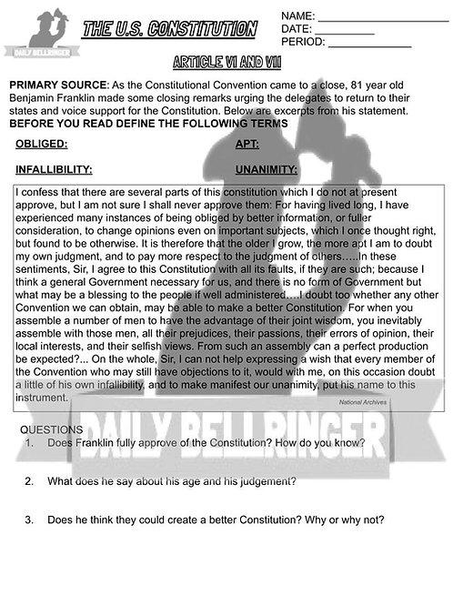 Article VI and VII Worksheet