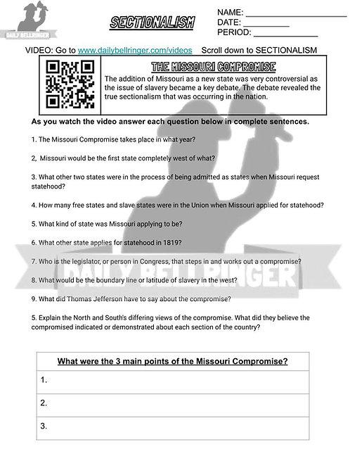 The Missouri Compromise Worksheet