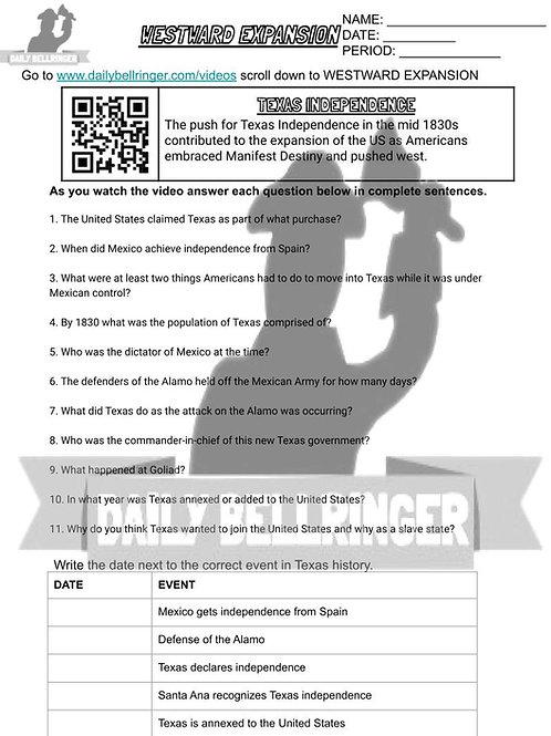 Texas Independence Worksheet