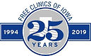 Free Clinics of Iowa 25 years logo