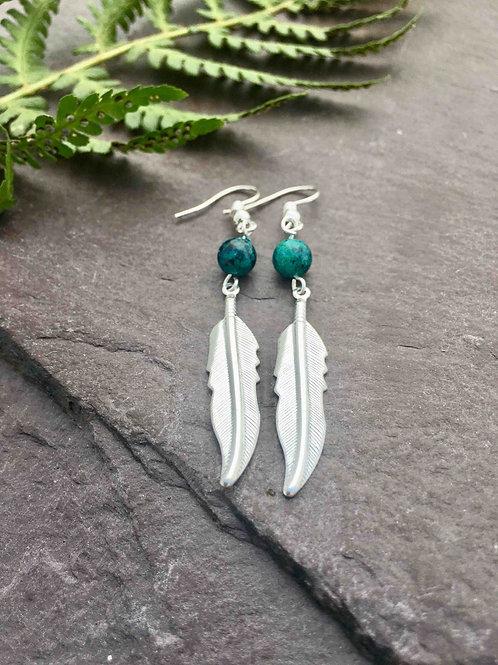 Chrysocolla Feather Earrings