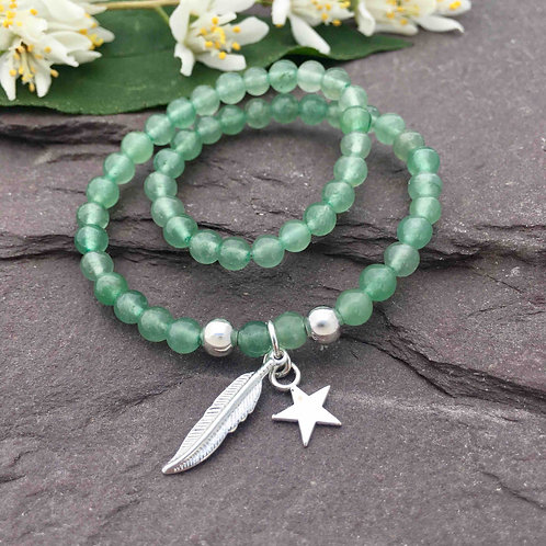 Aventurine Anklet & Feather Charm