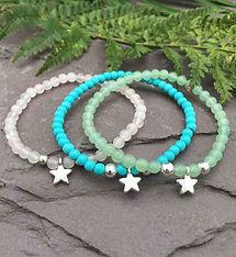 star charm bracelets, semi precious ston