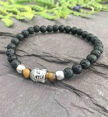 handmade lava rock beaded bracelet with