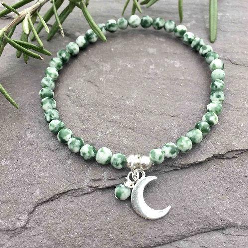Speckled Jasper Moon Charm Bracelet