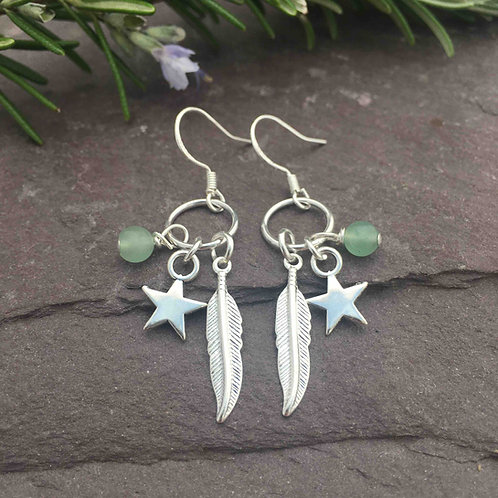 Aventurine Feather Earrings