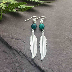 feather earrings with gem stone bead, st