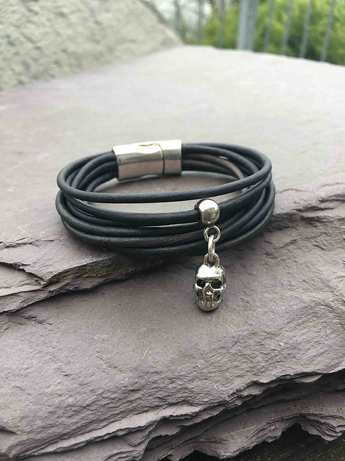 Black Leather Skull Charm Bracelet