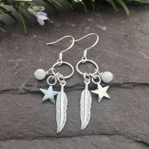 Howlite Feather Earrings