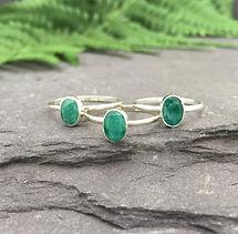 Green onyx rings, sterling silver rings