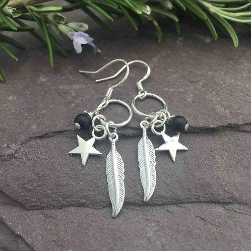 Onyx Feather Earrings