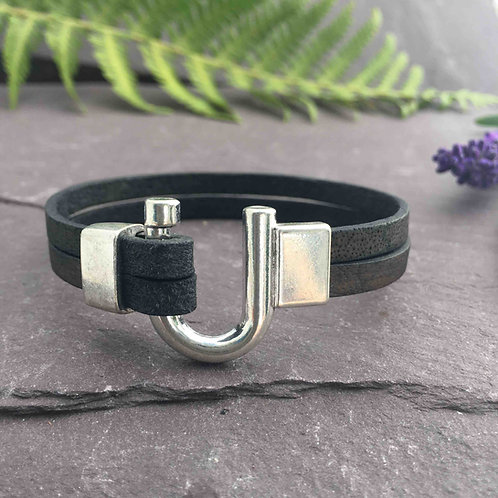 Vintage Black Leather Bracelet