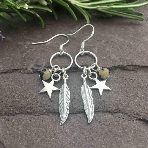 Dalmatian Jasper Feather Earrings