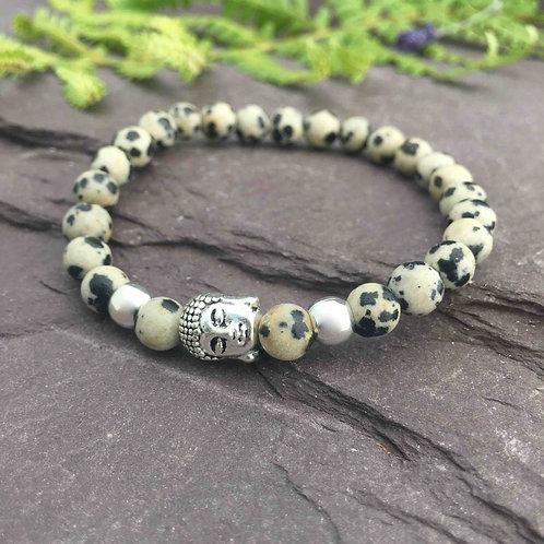Dalmatian Jasper Buddha Bracelet