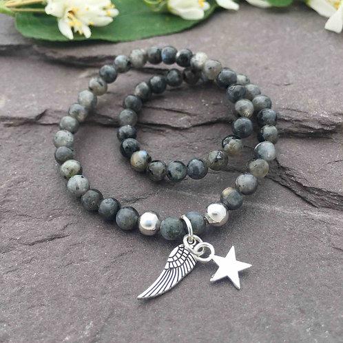 Larvikite Anklet & Angel Wing Charm