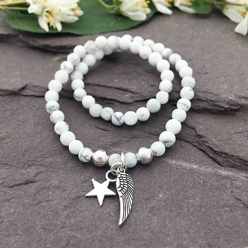 Howlite Anklet & Angel Wing Charm
