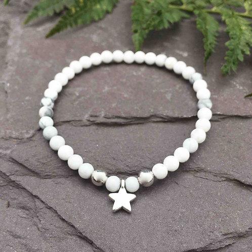 Howlite Star Charm Bracelet