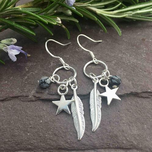 Snowflake Obsidian Feather Earrings