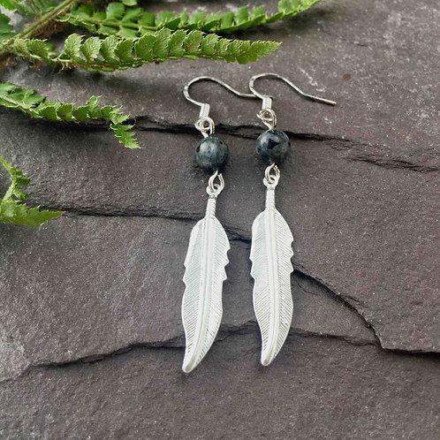 Larvikite Feather Earrings