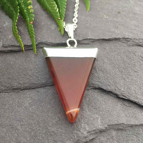Red Agate Triangle Point Necklace