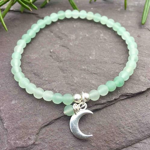 Aventurine Moon Charm Bracelet