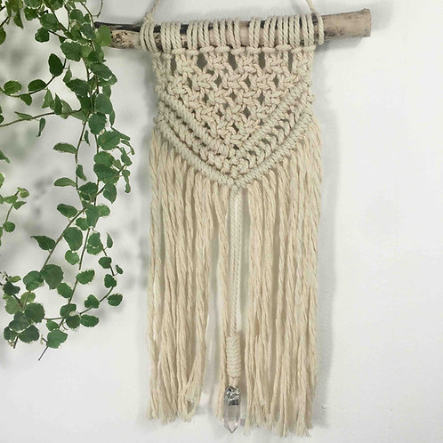 Macrame Wall hanging with Quartz Crystal