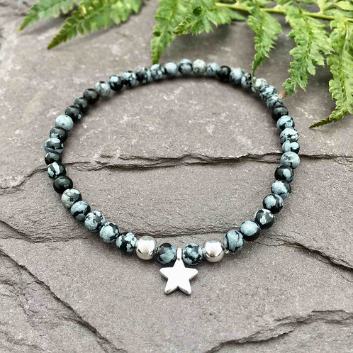 Snowflake Obsidian Star Charm Bracelets