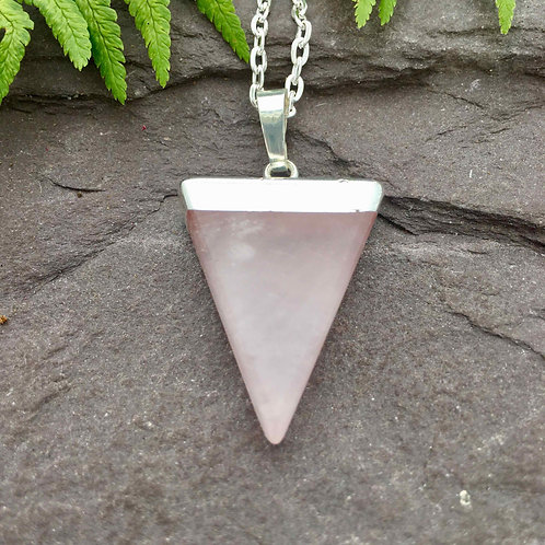 Triangle Point Rose Quartz Pendant
