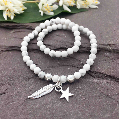 Howlite Anklet & Feather Charm