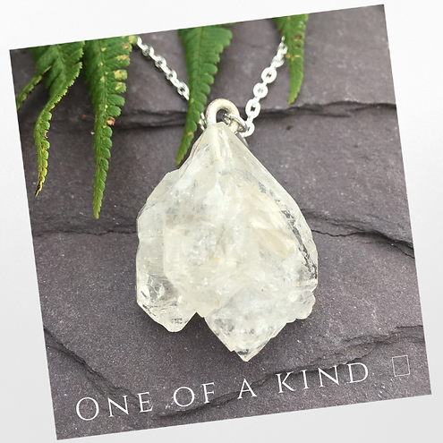 herkamire diamond quartz crystal pendant